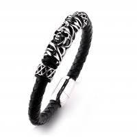 Cheap price black plated the north skull metal charm black leather men skull bracelet for wholesale Manufactures