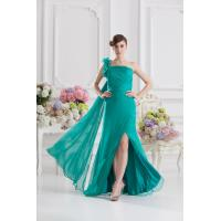 Elegant Green One Shoulder Mermaid Floor Length Chiffon Evening Gown Prom Dress Flower Manufactures
