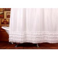 Ruffled White Bathroom Shower Curtains Waterproof Thickening Machine Wash Manufactures
