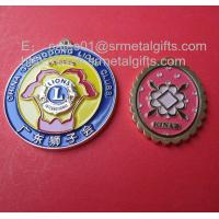 China Colour filled engraved souvenir medals wholesale, custom business medals with ribbon, on sale