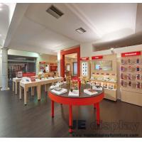 China Mobile phone retail store Display tables by Wood painting with Glass and Wall cabinets for showroom fixture on sale