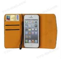 Classic design credit card slot wallet leather pouch case for  apple iphone 3G/3GS with leather + PC Manufactures
