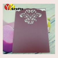 Rectangle lace laser pearl paper pocket wedding cards invitation design wine red Manufactures