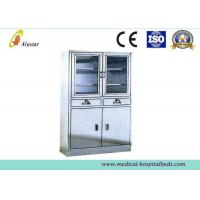 Hospital Stainless Steel Bedside Table Cabinet With Adjusted Shelves ( ALS - CA008 ) Manufactures