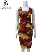 One Piece Peplum Waist African Print Dresses Multi Color Customized Size Manufactures