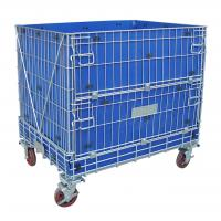 China Collapsible Rigid Industrial Wire Container Wheels Available Easily Movable on sale