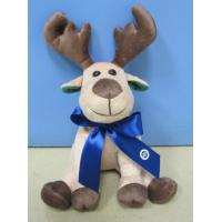 Big Christmas Plush Toys Moose / Reindeer Stuffed Animals With Ribbon Manufactures