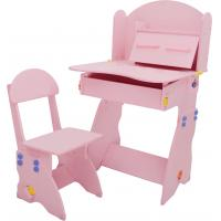 18.3KG Pink Solid Wooden Children'S Desk And Chair Set With Hidden Drawer Manufactures