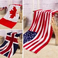 Towel Wholesale pure cotton Bath towel Beach Canadian flag   American flag British flag Manufactures