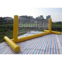 China 0.9mm PVC Tarpaulin Fabric Yellow Color Inflatable Volleyball Playground Equipment on sale