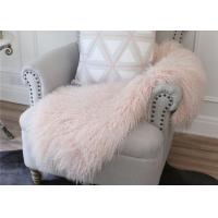 Light Pink Real Sheepskin Rug Long Silky Curly Fur 2' X 4' For Winter / Spring / Autumn Manufactures
