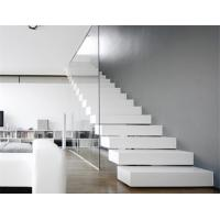 Residential Floating Wood Stairs Stable Treads With Tempered Glass Balustrade Manufactures