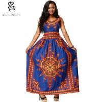 Sexy Womens Long African Print Dresses , V Neck African Traditional Designer Dresses Manufactures