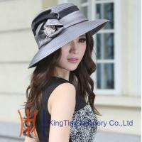 Grey / Black Wide Brim Church Hats with Flowers Polyester Women Fabric Twist Hats Manufactures