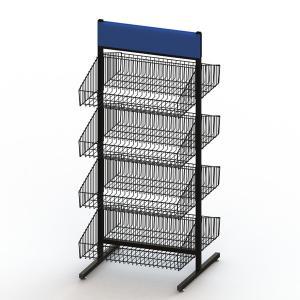 5 Tiers 2 Sides Floor Standing KD Metal Wire Basket Rack Manufactures