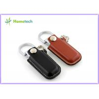 Luxurious Black / Brown Leather USB Flash Disk 4GB / 8GB with Key Ring Manufactures