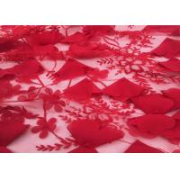 "Red Embroidery Wedding Lace Fabric 3d Flower 50-51"" Width For Home Textile Manufactures"