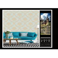 Wet Embossed Vinyl Vintage Damask Wallpaper For Living Room , ISO Approved Manufactures