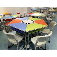 Colourful Six Joint Student Desk And Chair Set PVC Edge For Training Room Manufactures