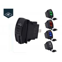 Double USB Socket Motorcycle Cell Phone Charger Corrosion Resistant With LED Light Manufactures