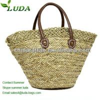 Large Seagrass Beach Tote Bag with Crochet Trimming