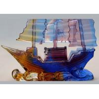 China Office Desk Decoration Colored Glaze Crafts , Chinese Style Sailing Boat Adornment on sale