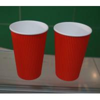 Red PE Coated Paper Ripple Paper Cups Insulated Coffee Cups With Lids 500ml Manufactures