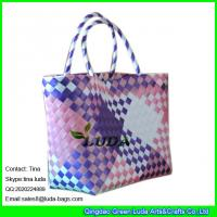 China LUDA shopper waterproof beach bag colorful summer PP strap woven straw bag on sale