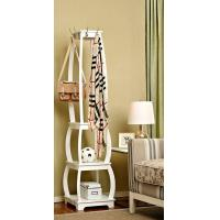 Standing White Wood Display Rack Shelves With Hooks / Wider Room Manufactures