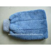 China Microfiber Car Cleaning Glove Blue Coral Fleece Type on sale