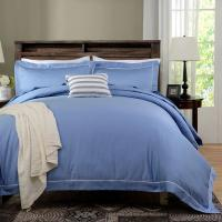 China Blue Dyed Solid Bedding Sets For Hotel And Beauty Salon Hypoallergenic on sale
