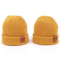 Leather Patch Knit Beanie Hats Custom Design Warm Hat Cap Yellow Beanie Hats Manufactures