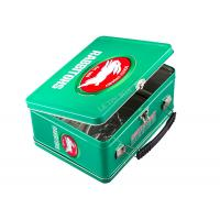 Rabbitohs Metal Tin Lunch Boxes Hinged Tin Box With Handle Key And Lock Manufactures