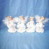 Hand-painted Polyresin Angels in Christmas Design, Available in Various Sizes and Colors Manufactures