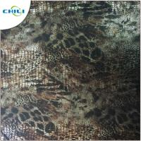 China Green Printed Faux Leather Fabric High Stretch Performance Flame Retardant on sale
