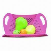 China Folding Fruit Baskets, Measures 34.5 x 26.5cm, Made of PP on sale