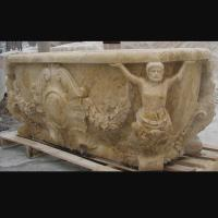 Hotel Deocration Beige travertine bathtub with figure statue carving for bathroom,china sculpture supplier Manufactures