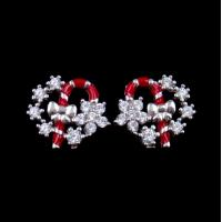 Buy cheap Exquisite Star Charm Earrings Christmas Wreath Enamel Costume Jewellery from wholesalers