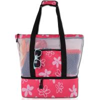 China Embroidered Net Shopping Bag , String Net Bags Floral Printed Machine Washable on sale