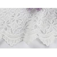 Dubai White Bridal Embroidered Mesh Fabric By The Yard Water Soluble With Scalloped Edge Manufactures