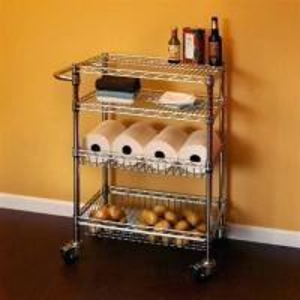 Restaurant Food Storage Shelves Utility Transport Steel Cart Zinc Surface Finish Manufactures