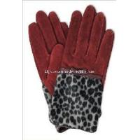 Ladies Fashion Pig Suede Leather Gloves with Leopard Print (CF2024) Manufactures