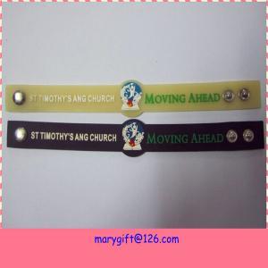 China Embossed pvc bracelet with custom logo on sale