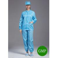 Quality SMT Workshop ESD Anti Static Jackets and pants Blue Color With 75D or 100D Yarn for sale