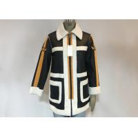 China Black PU White Shearling Polyester Coat Warm Contrast Pleather Jacket With Badges For Ladies on sale