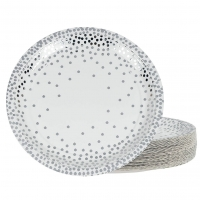 China Bio Food Containers Silver Foil Dot Theme Compostable Paper Plates on sale