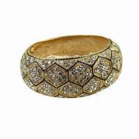 China Gold-plated Bangle/Bracelet, Made of Rhinestones and Alloy, Customized Designs/OEM Orders Welcome on sale