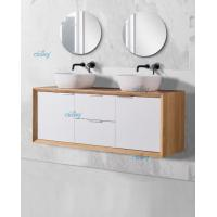 Double Sink Solid Timber Vanity Units , 150 Inch Timber Vanity Units For Bathroom Manufactures