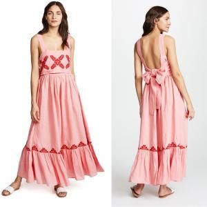2018 Pink Linen Embroidery Women Maxi Dress Summer Manufactures