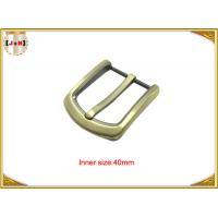 Gold Custom Zinc Alloy Metal Belt Buckle 40mm With CNC Engraved Logo Manufactures